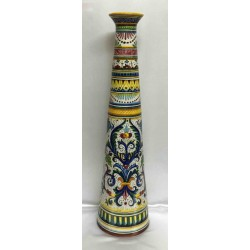 "Deruta ceramic vase, ""rich Deruta"" style, smooth edge, narrow neck"