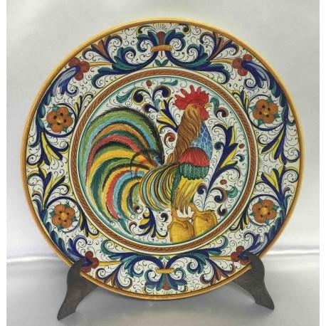 """Placa de decoración de cerámica Deruta, con gallo, estilo """"rico Deruta"""""""