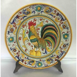 "Deruta ceramic furnishing plate, with rooster, ""raffaellesco"" style"
