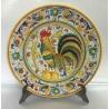 """Plaque d'ameublement en céramique Deruta, avec coq, style """"raffaellesco"""""""