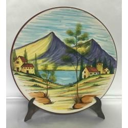 Piatto d'arredo in ceramica Deruta, con paesaggio