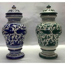 """Paire de vases en céramique Deruta, série """"BIRDS"""" (oiseaux)"""