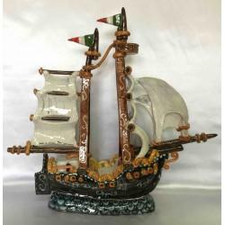 Ceramic sailing vessel, hand painted