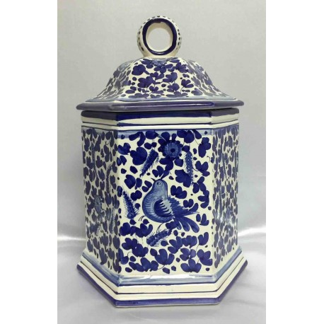 "Deruta ceramic vase with lid, ""BIRDS"" series"