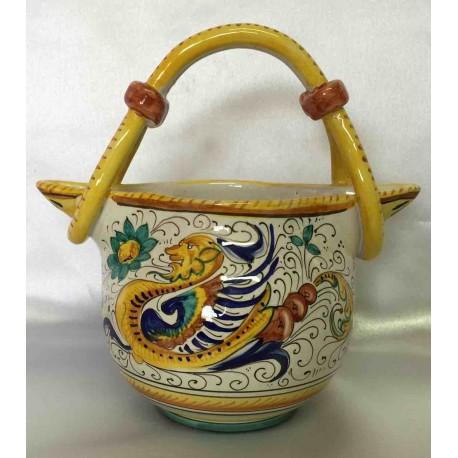 Brocca in ceramica Deruta, con manico e doppia uscita