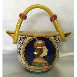 Ceramic jug Deruta style, with handle and double outlet