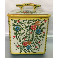 Ceramic biscuit box Deruta style, with lid