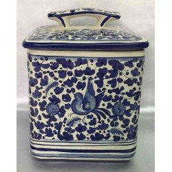 Biscuit box 'blue bird' style, ceramic Deruta, with lid