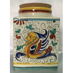 Récipient en céramique Deruta, style Raphael, couvercle en liège