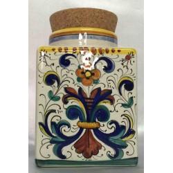Contenitore in ceramica Deruta, stile ricco Deruta, coperchio sughero