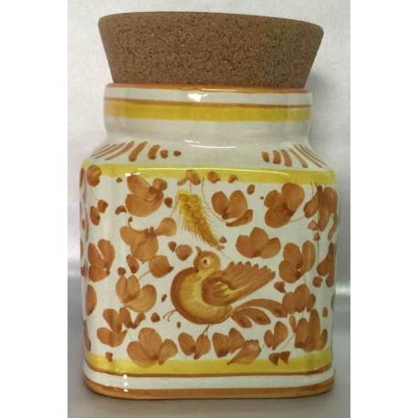 """Boite """"oiseau jaune"""" en céramique Deruta, couvercle en liège"""
