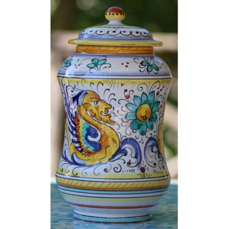 Ceramic Deruta box, Raffaellesco style, with lid