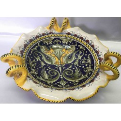 Contenedor de fruta de cerámica Deruta, estilo grotesco, con manijas