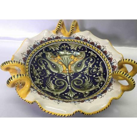 Contenedor de fruta de cerámica de Deruta, estilo grotesco, con las manijas