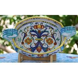 Keramik-Herzstück im reichen Deruta-Stil mit Griffen