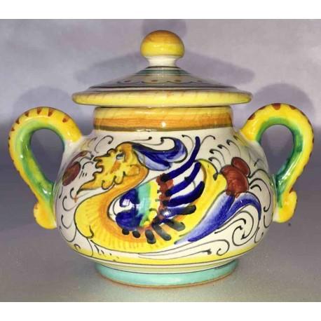 Zuccheriera in ceramica Deruta, stile raffaellesco