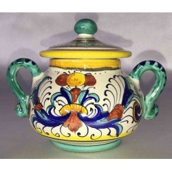 Ceramic Sugar Bowl, Rich Deruta style