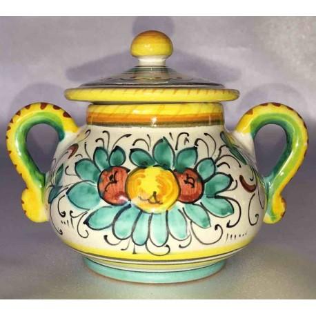Zuccheriera in ceramica Deruta, decoro floreale