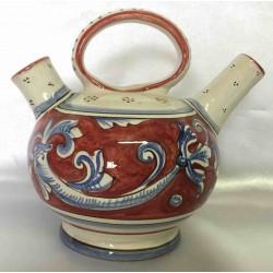 Teiera in ceramica Deruta, rosso seppia
