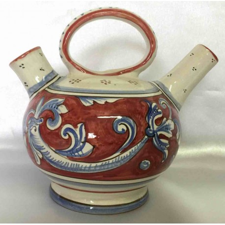 Ceramic teapot Deruta, red sepia