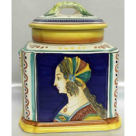 Deruta ceramic biscuit box with vintage woman face