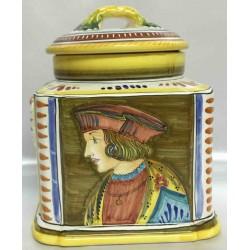 Biscottiera in ceramica Deruta, con viso uomo d'epoca