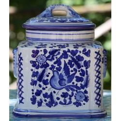 """Contenitore """"blue bird"""" in ceramica Deruta, con coperchio"""