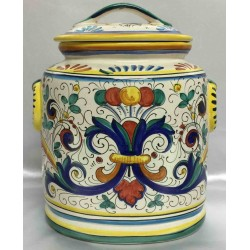 Deruta ceramic Container, with Cover, Rich Deruta Style