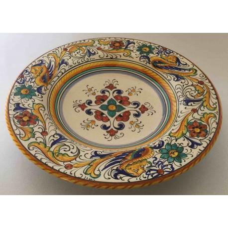Piatto da portata rotondo in ceramica Deruta, stile raffaellesco