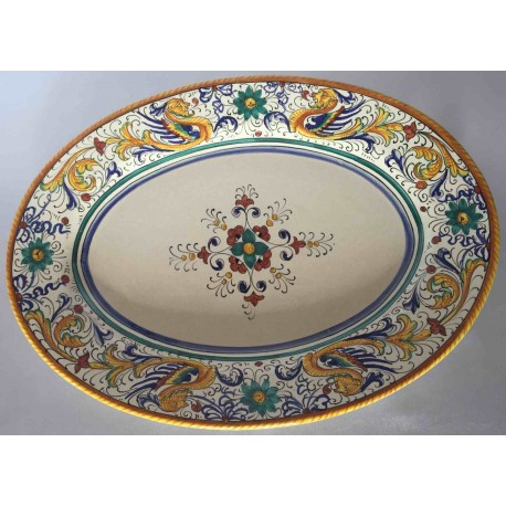 Ceramic Deruta oval dish, Raphael style