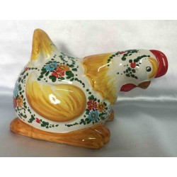 Deruta ceramic hen, hand painted