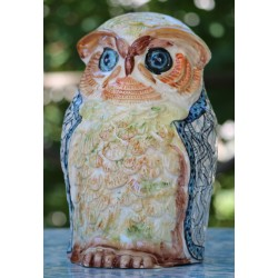 Chouette en céramique Deruta, peinte à la main