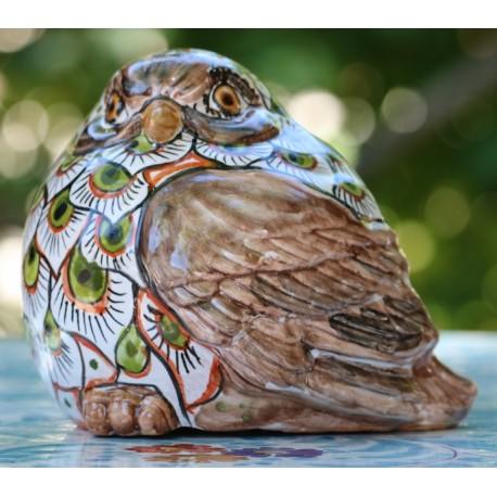Uccello in ceramica Deruta dipinto a mano