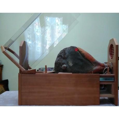 Coupe-jambon artisanal en bois, avec structure de sécurité anti-blessure